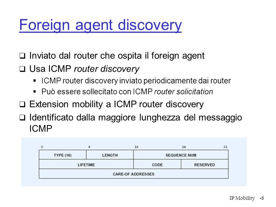 IP Mobility-9 Foreign agent discovery  Lifetime: tempo massimo di attesa per accettare richieste di registrazione  Sequence number: permette di identificare quando un messaggio è stato perso  Code: