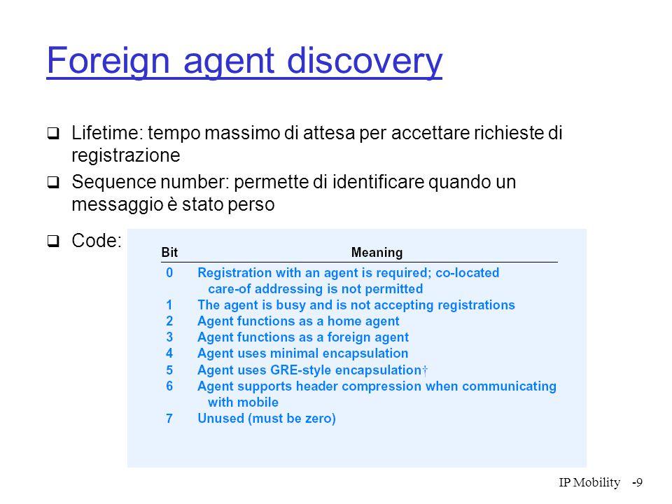 IP Mobility-20 Protezione verso le richieste di registrazione  Home agent deve verificare che il messaggio provenga dall'host mobile, non una risposta ad una registrazione precedente ripetuta da un'attaccante  Due metodi  Timestamps (obbligatario)  Nonces (opzionale)