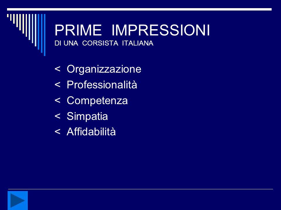 PRIME IMPRESSIONI DI UNA CORSISTA ITALIANA < Organizzazione < Professionalità < Competenza < Simpatia < Affidabilità