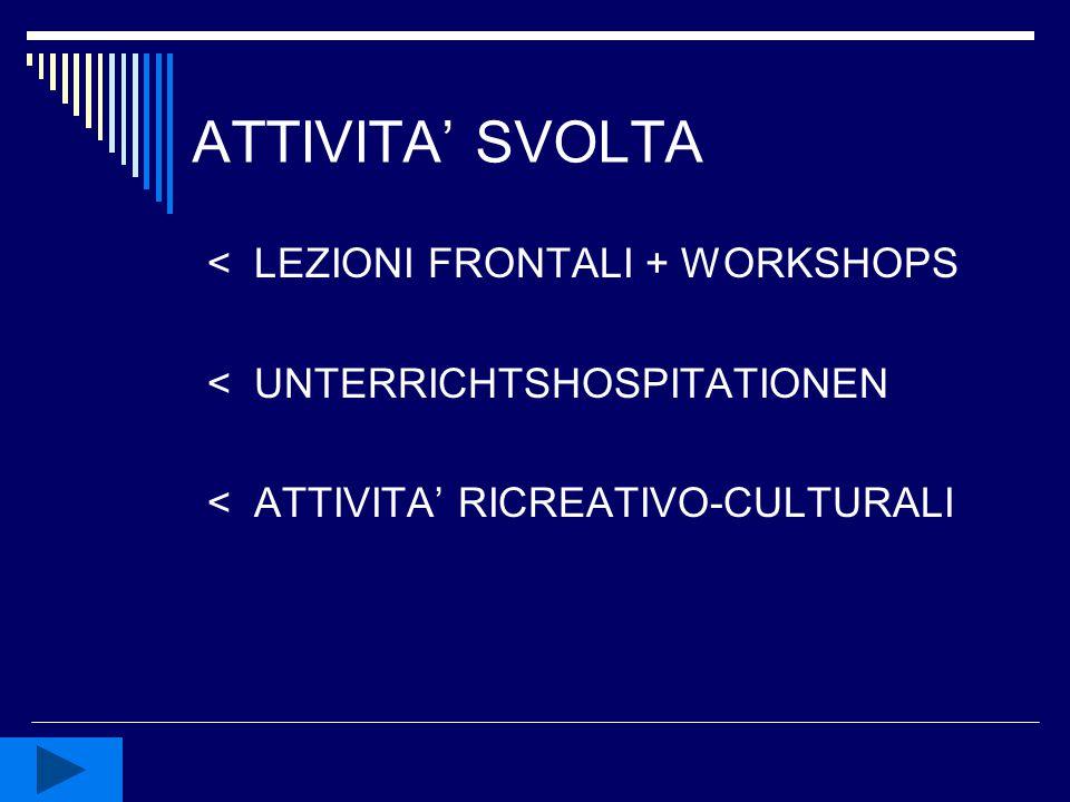 ATTIVITA' SVOLTA < LEZIONI FRONTALI + WORKSHOPS < UNTERRICHTSHOSPITATIONEN < ATTIVITA' RICREATIVO-CULTURALI