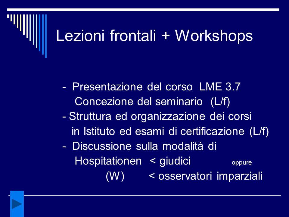 Lezioni frontali + Workshops - Presentazione del corso LME 3.7 Concezione del seminario (L/f) - Struttura ed organizzazione dei corsi in Istituto ed e