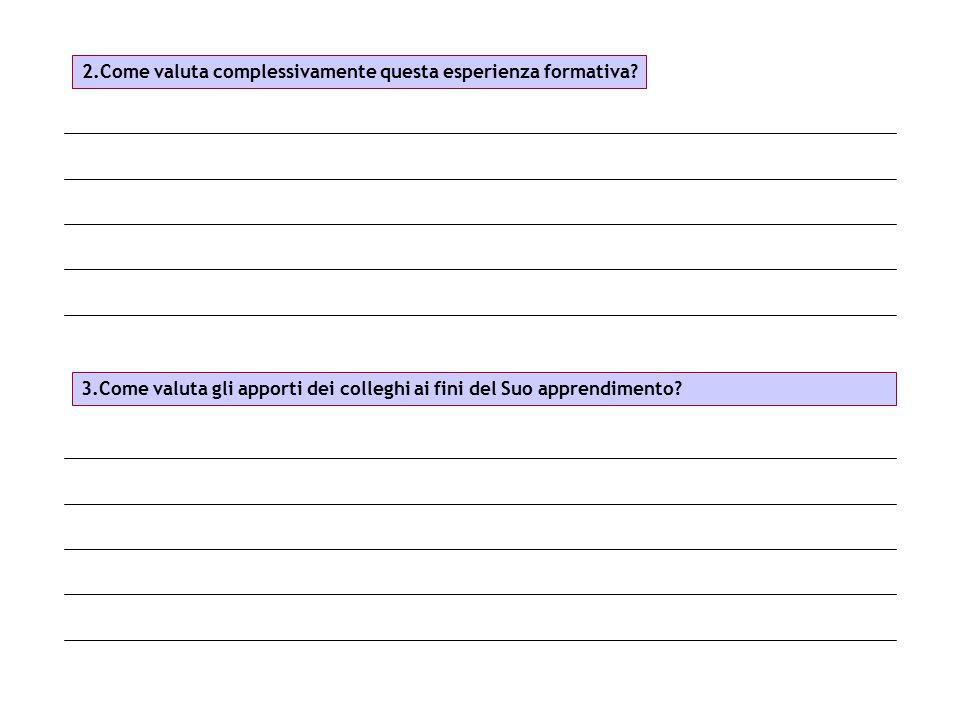 2.Come valuta complessivamente questa esperienza formativa? 3.Come valuta gli apporti dei colleghi ai fini del Suo apprendimento?