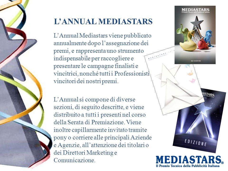 L'ANNUAL MEDIASTARS L'Annual Mediastars viene pubblicato annualmente dopo l'assegnazione dei premi, e rappresenta uno strumento indispensabile per raccogliere e presentare le campagne finalisti e vincitrici, nonché tutti i Professionisti vincitori dei nostri premi.