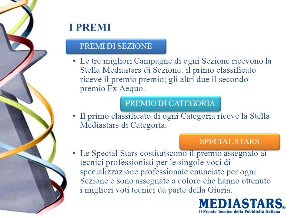 I PREMI PREMI DI SEZIONE Le tre migliori Campagne di ogni Sezione ricevono la Stella Mediastars di Sezione: il primo classificato riceve il premio premio; gli altri due il secondo premio Ex Aequo.