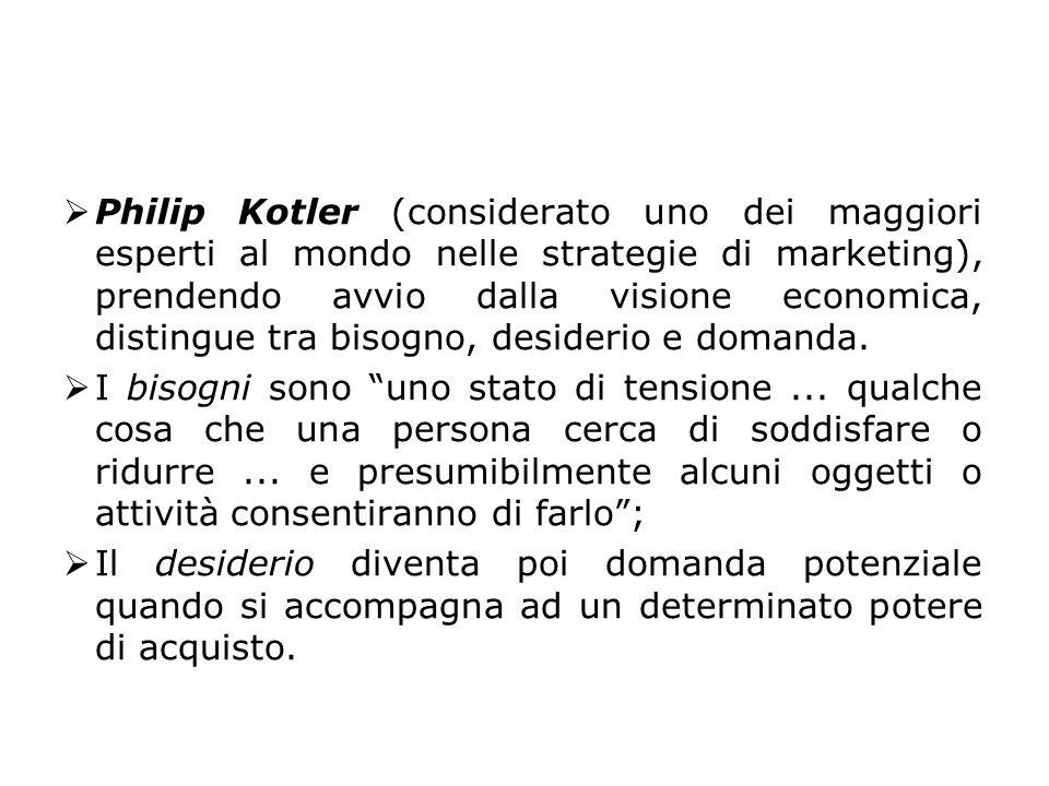  Philip Kotler (considerato uno dei maggiori esperti al mondo nelle strategie di marketing), prendendo avvio dalla visione economica, distingue tra b