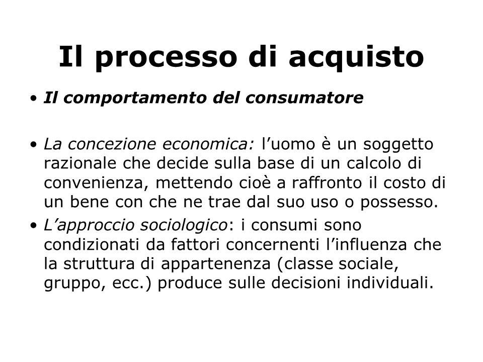 Il processo di acquisto Il comportamento del consumatore La concezione economica: l'uomo è un soggetto razionale che decide sulla base di un calcolo d