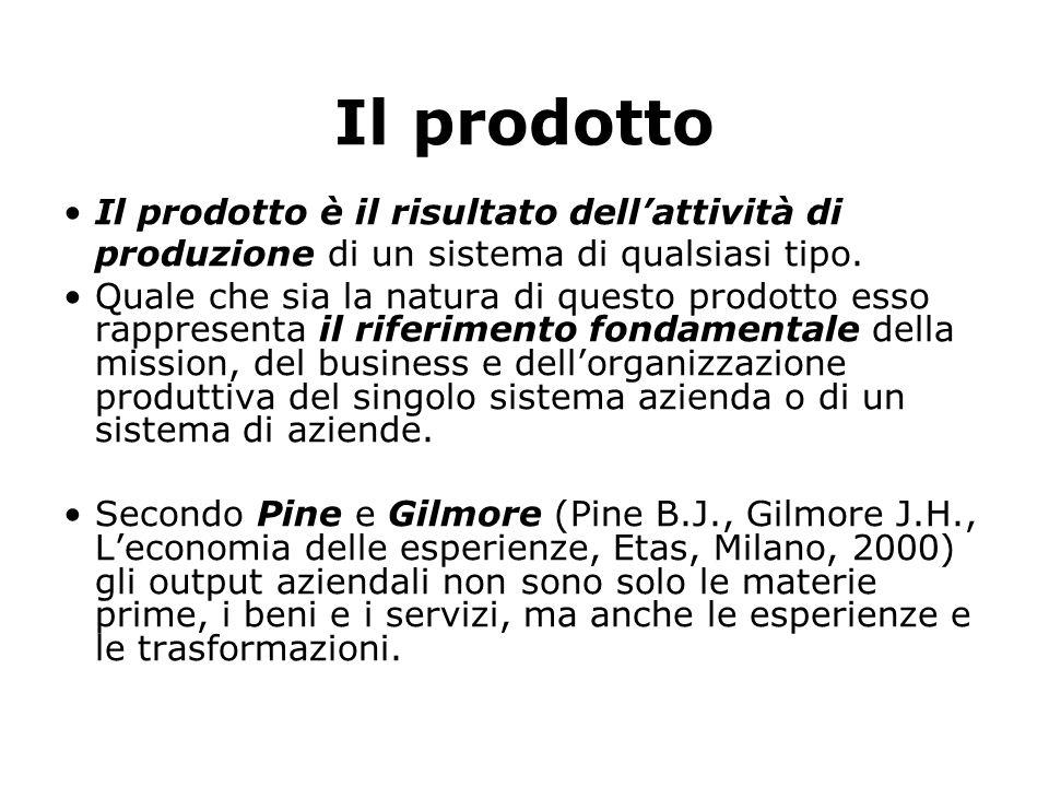 Il prodotto Il prodotto è il risultato dell'attività di produzione di un sistema di qualsiasi tipo. Quale che sia la natura di questo prodotto esso r