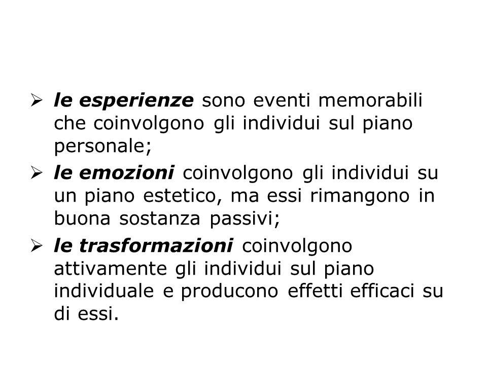  le esperienze sono eventi memorabili che coinvolgono gli individui sul piano personale;  le emozioni coinvolgono gli individui su un piano estetico