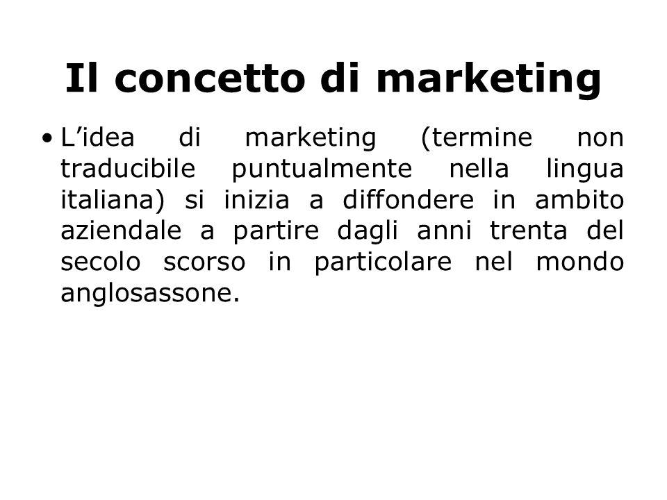 Il concetto di marketing L'idea di marketing (termine non traducibile puntualmente nella lingua italiana) si inizia a diffondere in ambito aziendale a