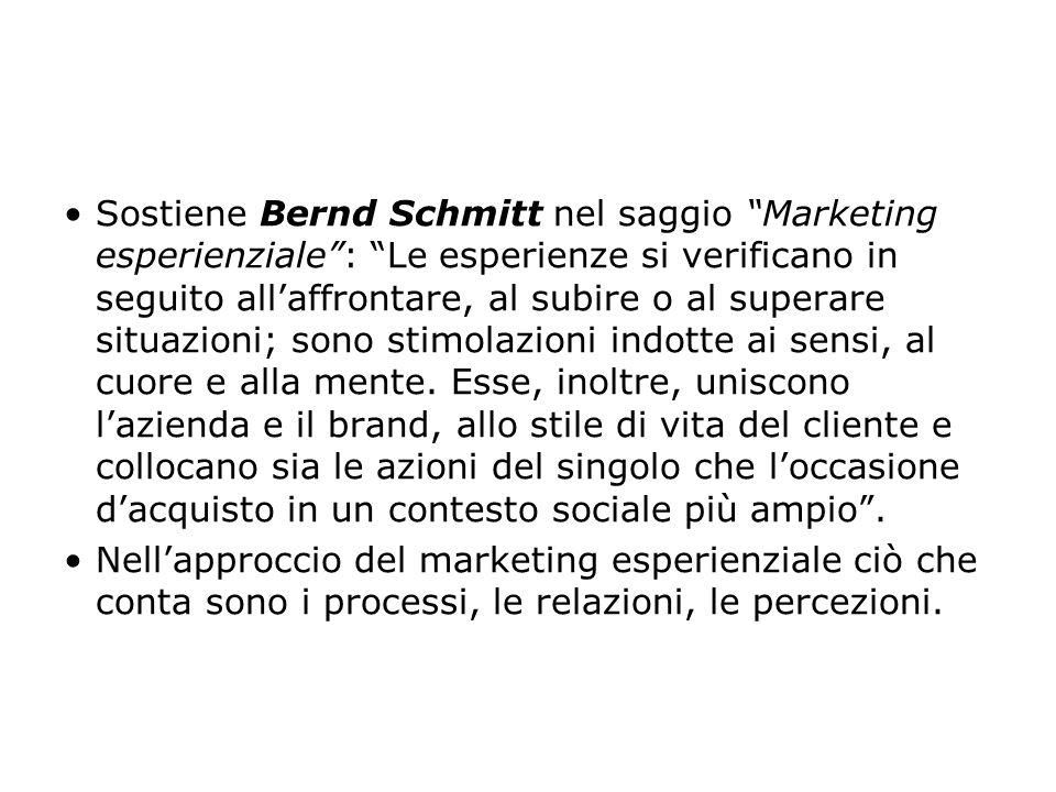 """Sostiene Bernd Schmitt nel saggio """"Marketing esperienziale"""": """"Le esperienze si verificano in seguito all'affrontare, al subire o al superare situazion"""