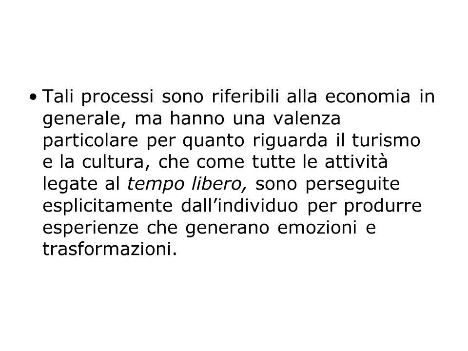 Tali processi sono riferibili alla economia in generale, ma hanno una valenza particolare per quanto riguarda il turismo e la cultura, che come tutte