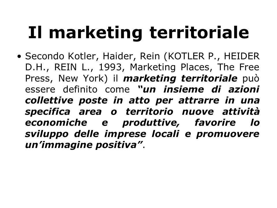Il marketing territoriale Secondo Kotler, Haider, Rein (KOTLER P., HEIDER D.H., REIN L., 1993, Marketing Places, The Free Press, New York) il marketin