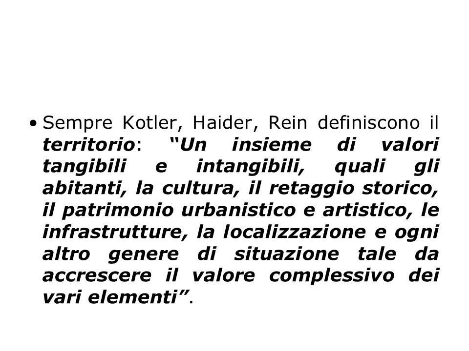 """Sempre Kotler, Haider, Rein definiscono il territorio: """"Un insieme di valori tangibili e intangibili, quali gli abitanti, la cultura, il retaggio stor"""