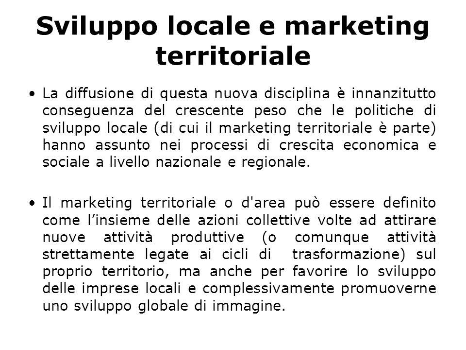 Sviluppo locale e marketing territoriale La diffusione di questa nuova disciplina è innanzitutto conseguenza del crescente peso che le politiche di s