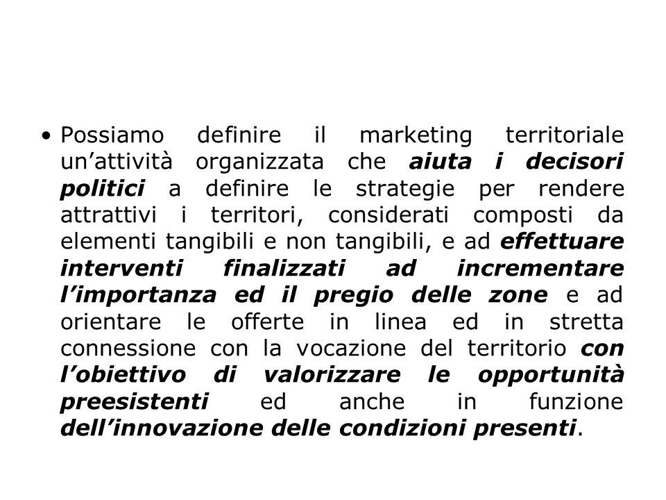 Possiamo definire il marketing territoriale un'attività organizzata che aiuta i decisori politici a definire le strategie per rendere attrattivi i te