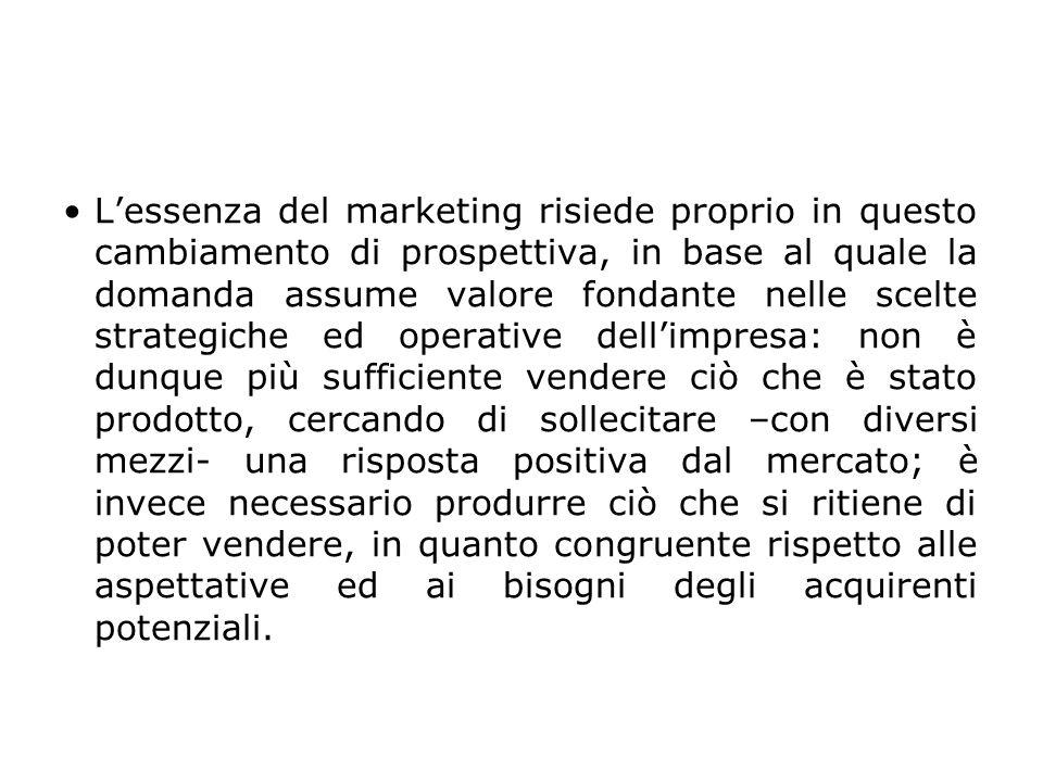 L'essenza del marketing risiede proprio in questo cambiamento di prospettiva, in base al quale la domanda assume valore fondante nelle scelte strategi