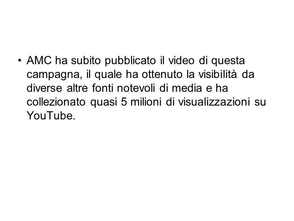 AMC ha subito pubblicato il video di questa campagna, il quale ha ottenuto la visibilità da diverse altre fonti notevoli di media e ha collezionato qu