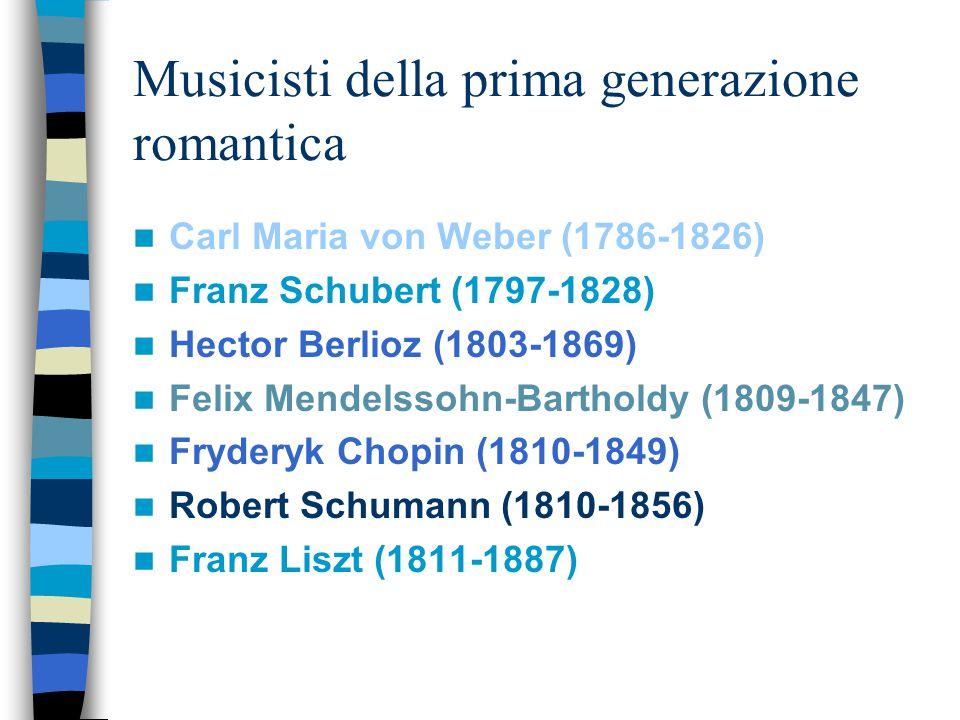 Musicisti della prima generazione romantica Carl Maria von Weber (1786-1826) Franz Schubert (1797-1828) Hector Berlioz (1803-1869) Felix Mendelssohn-B