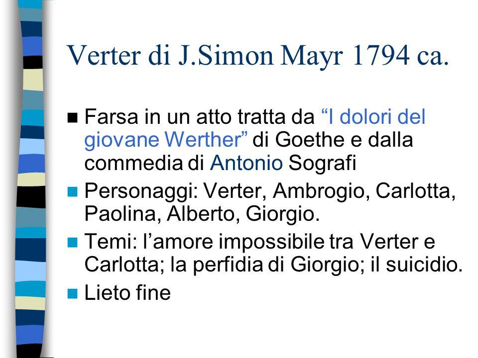 """Verter di J.Simon Mayr 1794 ca. Farsa in un atto tratta da """"I dolori del giovane Werther"""" di Goethe e dalla commedia di Antonio Sografi Personaggi: Ve"""