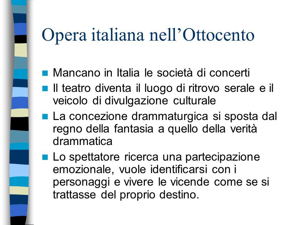 Opera italiana nell'Ottocento Mancano in Italia le società di concerti Il teatro diventa il luogo di ritrovo serale e il veicolo di divulgazione cultu