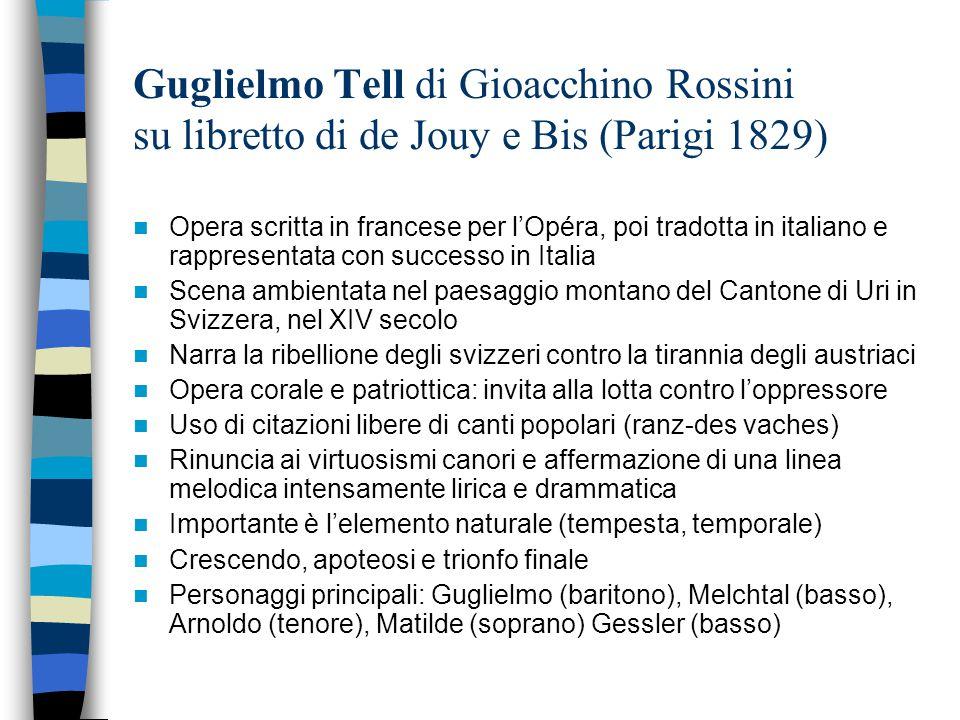 Guglielmo Tell di Gioacchino Rossini su libretto di de Jouy e Bis (Parigi 1829) Opera scritta in francese per l'Opéra, poi tradotta in italiano e rapp