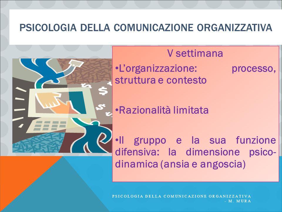 PSICOLOGIA DELLA COMUNICAZIONE ORGANIZZATIVA V settimana L'organizzazione: processo, struttura e contesto Razionalità limitata Il gruppo e la sua funzione difensiva: la dimensione psico- dinamica (ansia e angoscia) PSICOLOGIA DELLA COMUNICAZIONE ORGANIZZATIVA - M.