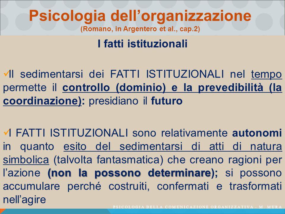 Psicologia dell'organizzazione (Romano, in Argentero et al., cap.2) I fatti istituzionali Il sedimentarsi dei FATTI ISTITUZIONALI nel tempo permette il controllo (dominio) e la prevedibilità (la coordinazione): presidiano il futuro (non la possono determinare I FATTI ISTITUZIONALI sono relativamente autonomi in quanto esito del sedimentarsi di atti di natura simbolica (talvolta fantasmatica) che creano ragioni per l'azione (non la possono determinare); si possono accumulare perché costruiti, confermati e trasformati nell'agire PSICOLOGIA DELLA COMUNICAZIONE ORGANIZZATIVA - M.