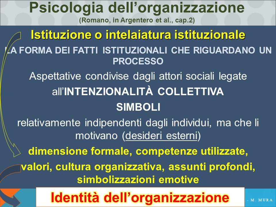 Psicologia dell'organizzazione (Romano, in Argentero et al., cap.2) Istituzione o intelaiatura istituzionale LA FORMA DEI FATTI ISTITUZIONALI CHE RIGUARDANO UN PROCESSO Aspettative condivise dagli attori sociali legate all'INTENZIONALITÀ COLLETTIVA SIMBOLI relativamente indipendenti dagli individui, ma che li motivano (desideri esterni) dimensione formale, competenze utilizzate, valori, cultura organizzativa, assunti profondi, simbolizzazioni emotive
