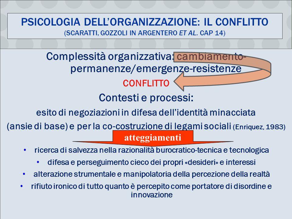 PSICOLOGIA DELL'ORGANIZZAZIONE: IL CONFLITTO (SCARATTI, GOZZOLI IN ARGENTERO ET AL.
