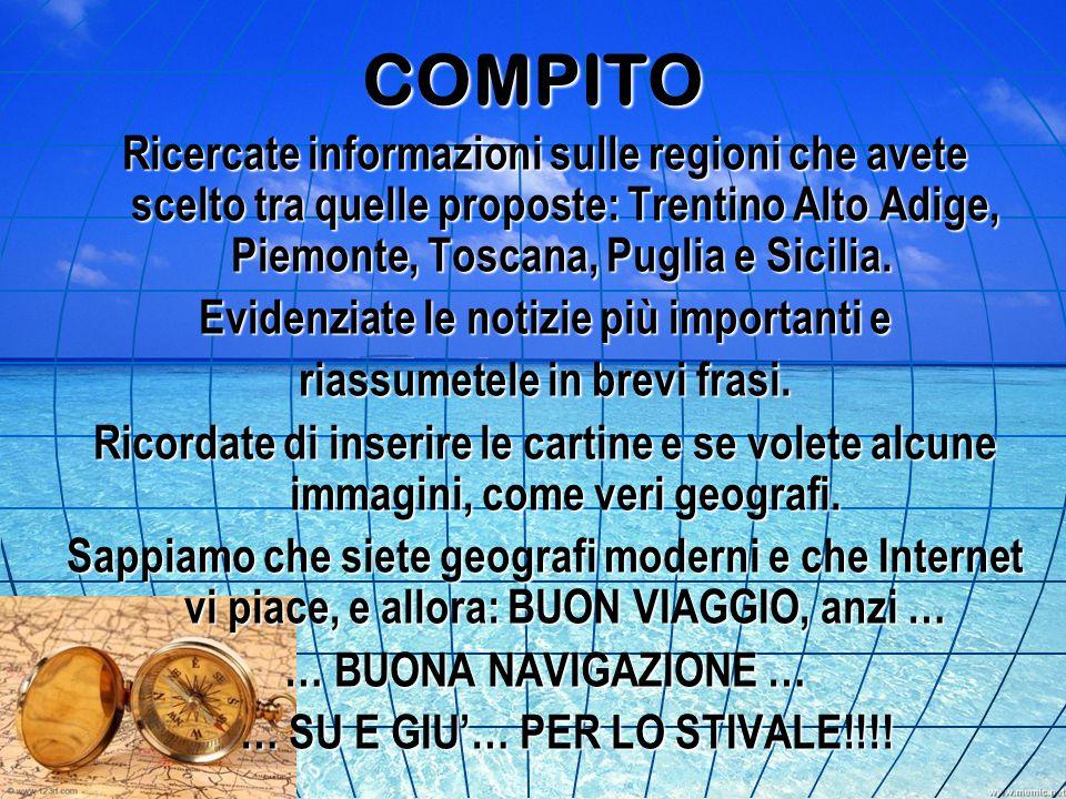 COMPITO Ricercate informazioni sulle regioni che avete scelto tra quelle proposte: Trentino Alto Adige, Piemonte, Toscana, Puglia e Sicilia. Ricercate
