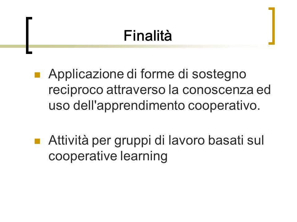 Finalità Applicazione di forme di sostegno reciproco attraverso la conoscenza ed uso dell'apprendimento cooperativo. Attività per gruppi di lavoro bas