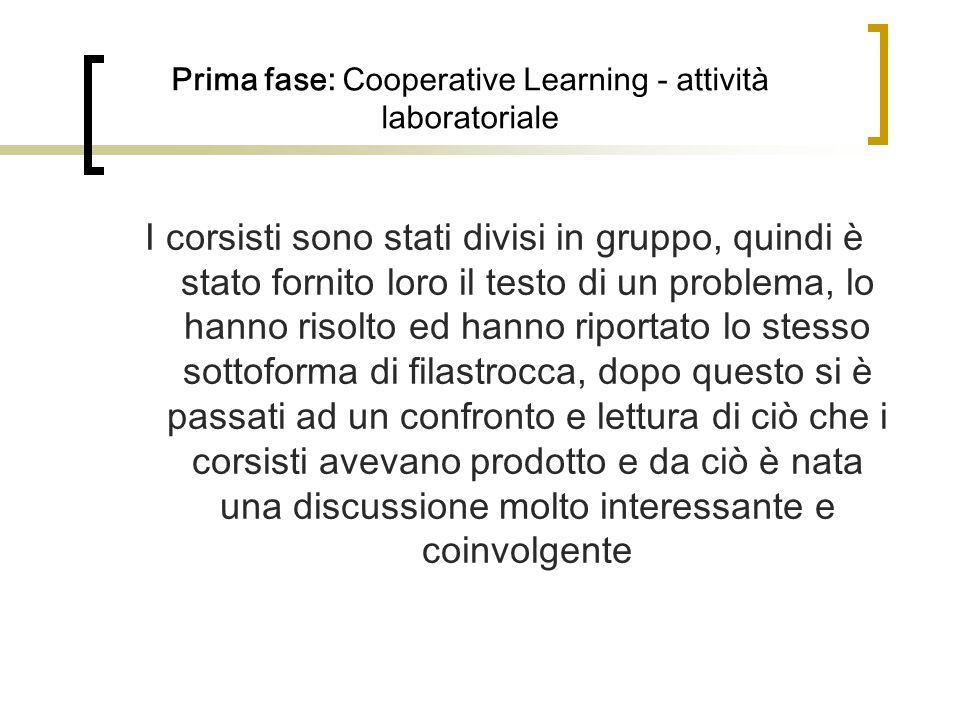 Prima fase: Cooperative Learning - attività laboratoriale I corsisti sono stati divisi in gruppo, quindi è stato fornito loro il testo di un problema,