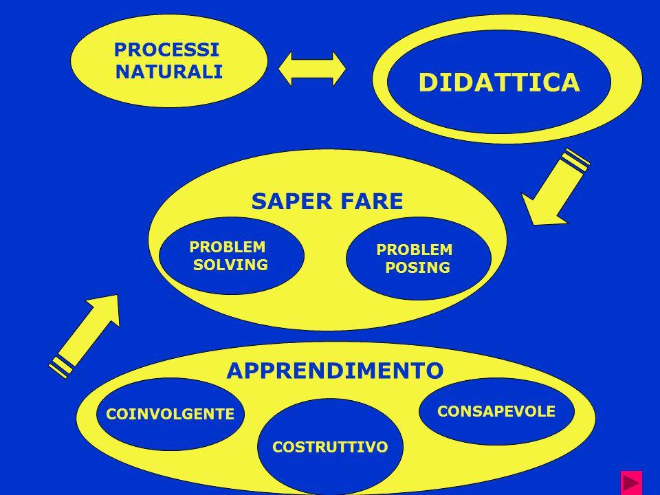 SAPER FARE PROCESSI NATURALI APPRENDIMENTO DIDATTICA PROBLEM SOLVING PROBLEM POSING COINVOLGENTE CONSAPEVOLE COSTRUTTIVO