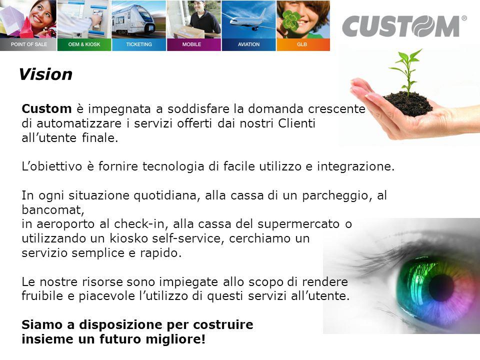 Vision Custom è impegnata a soddisfare la domanda crescente di automatizzare i servizi offerti dai nostri Clienti all'utente finale.
