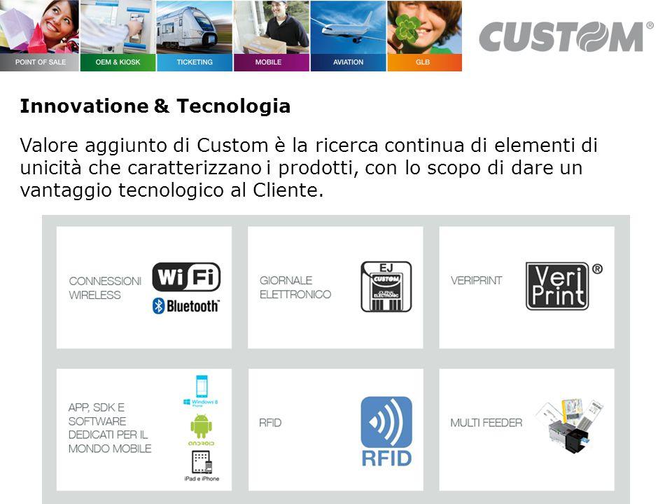 Innovatione & Tecnologia Valore aggiunto di Custom è la ricerca continua di elementi di unicità che caratterizzano i prodotti, con lo scopo di dare un vantaggio tecnologico al Cliente.