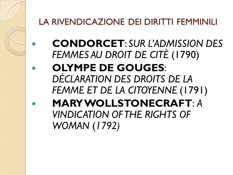 LA RIVENDICAZIONE DEI DIRITTI FEMMINILI CONDORCET: SUR L'ADMISSION DES FEMMES AU DROIT DE CITÈ (1790) OLYMPE DE GOUGES: DÉCLARATION DES DROITS DE LA F