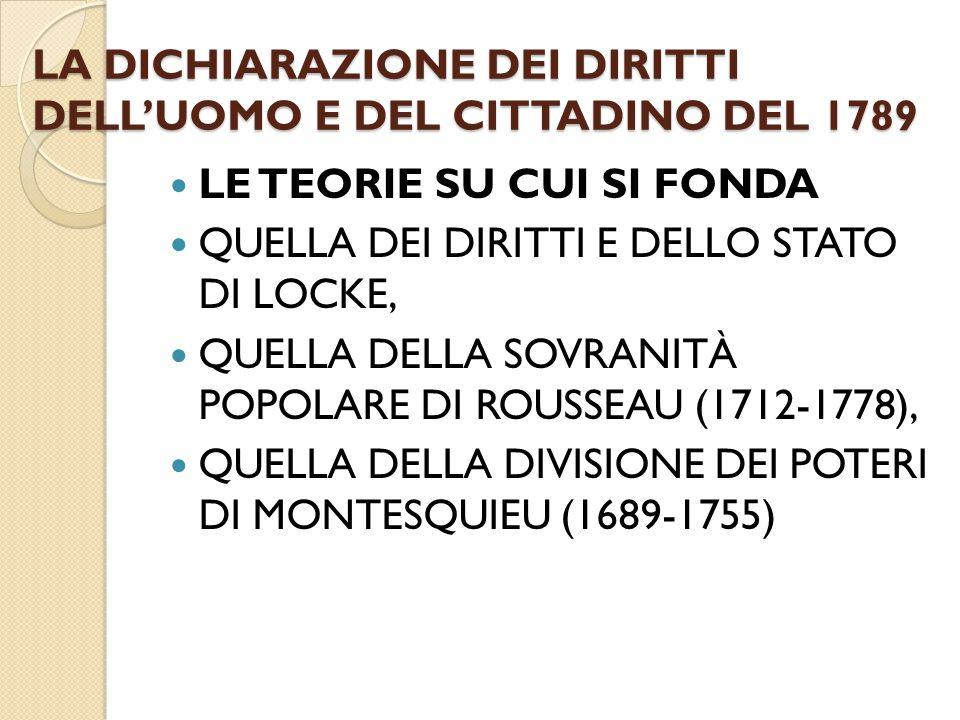 LA DICHIARAZIONE DEI DIRITTI DELL'UOMO E DEL CITTADINO DEL 1789 LE TEORIE SU CUI SI FONDA QUELLA DEI DIRITTI E DELLO STATO DI LOCKE, QUELLA DELLA SOVR