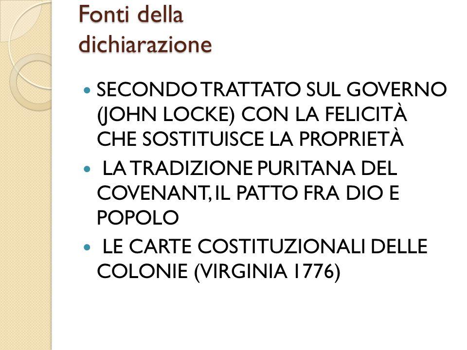 Fonti della dichiarazione SECONDO TRATTATO SUL GOVERNO (JOHN LOCKE) CON LA FELICITÀ CHE SOSTITUISCE LA PROPRIETÀ LA TRADIZIONE PURITANA DEL COVENANT,