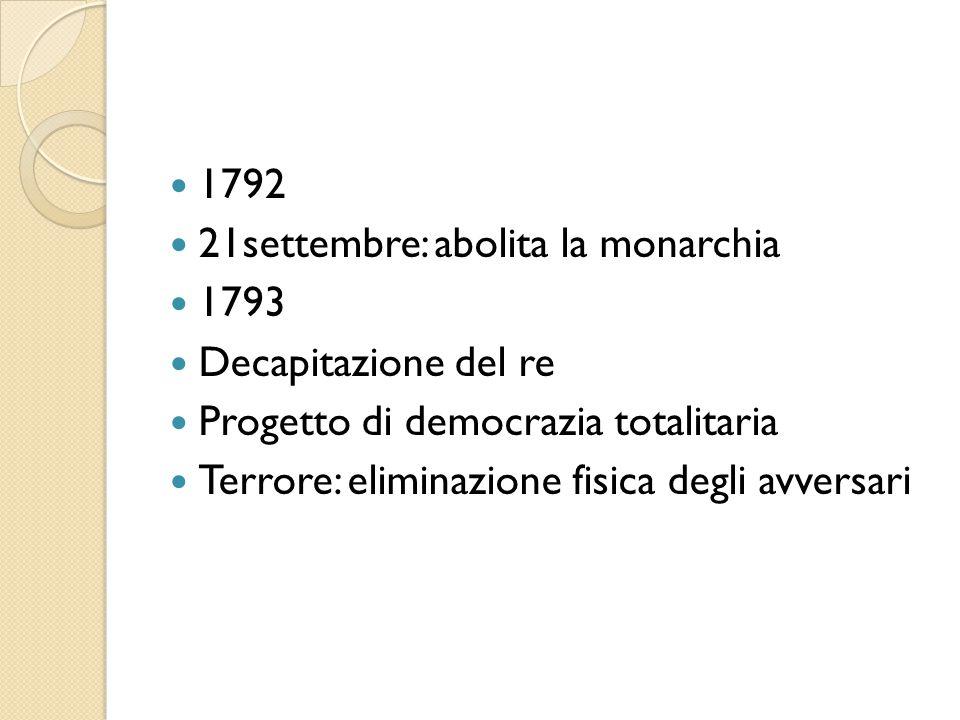 1792 21settembre: abolita la monarchia 1793 Decapitazione del re Progetto di democrazia totalitaria Terrore: eliminazione fisica degli avversari