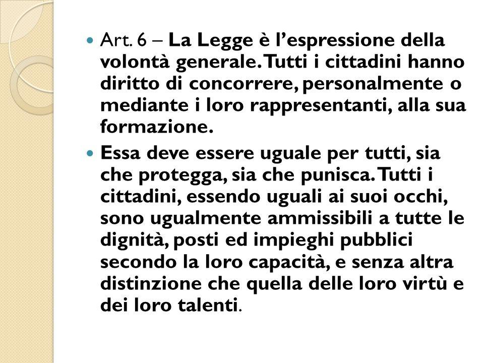 Art. 6 – La Legge è l'espressione della volontà generale. Tutti i cittadini hanno diritto di concorrere, personalmente o mediante i loro rappresentant