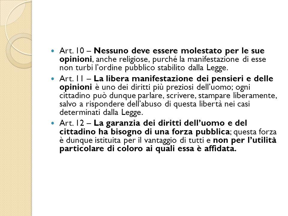 Art. 10 – Nessuno deve essere molestato per le sue opinioni, anche religiose, purché la manifestazione di esse non turbi l'ordine pubblico stabilito d