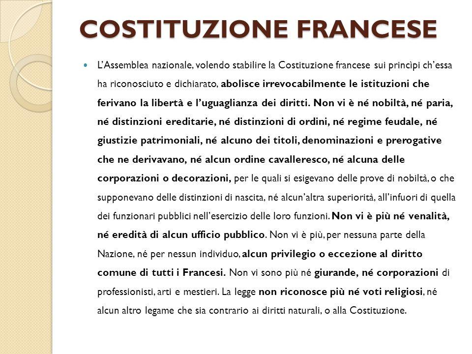 COSTITUZIONE FRANCESE L'Assemblea nazionale, volendo stabilire la Costituzione francese sui princìpi ch'essa ha riconosciuto e dichiarato, abolisce ir