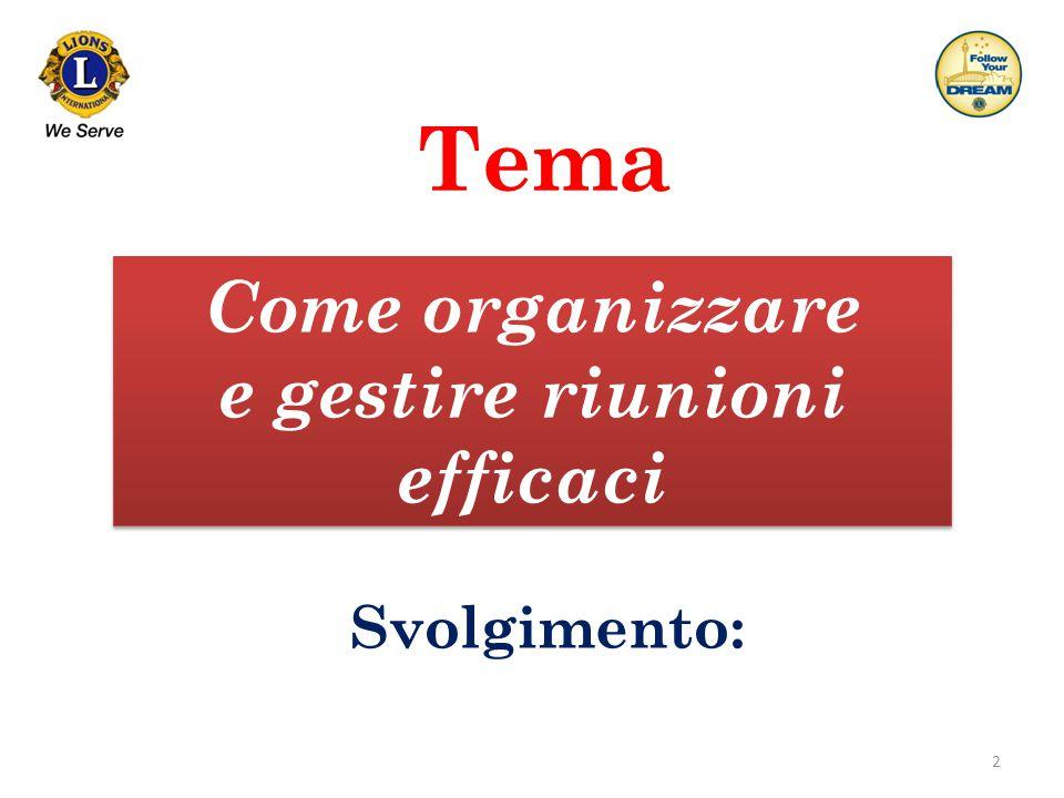2 Tema Come organizzare e gestire riunioni efficaci Come organizzare e gestire riunioni efficaci Svolgimento: