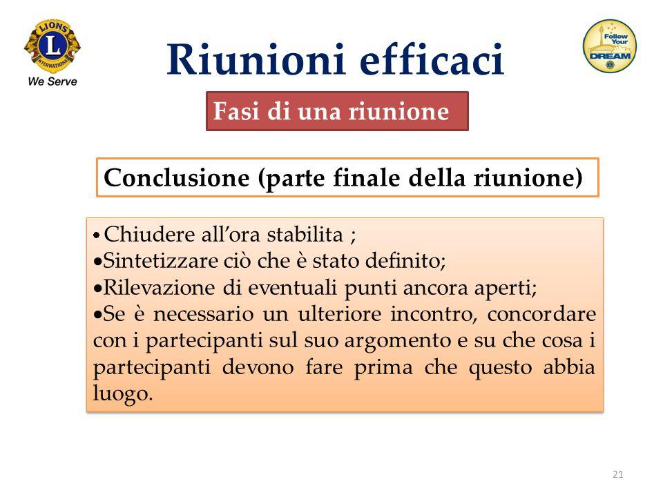 21 Riunioni efficaci Fasi di una riunione Conclusione (parte finale della riunione)  Chiudere all'ora stabilita ;  Sintetizzare ciò che è stato defi
