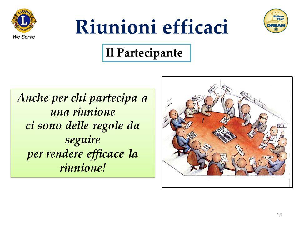 29 Riunioni efficaci Il Partecipante Anche per chi partecipa a una riunione ci sono delle regole da seguire per rendere efficace la riunione! Anche pe