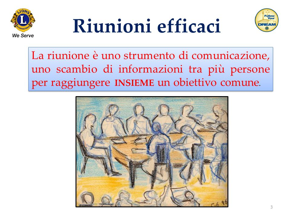 3 Riunioni efficaci La riunione è uno strumento di comunicazione, uno scambio di informazioni tra più persone per raggiungere INSIEME un obiettivo com