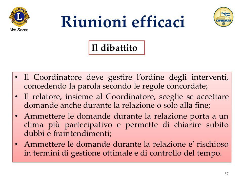 37 Riunioni efficaci Il dibattito Il Coordinatore deve gestire l'ordine degli interventi, concedendo la parola secondo le regole concordate; Il relato