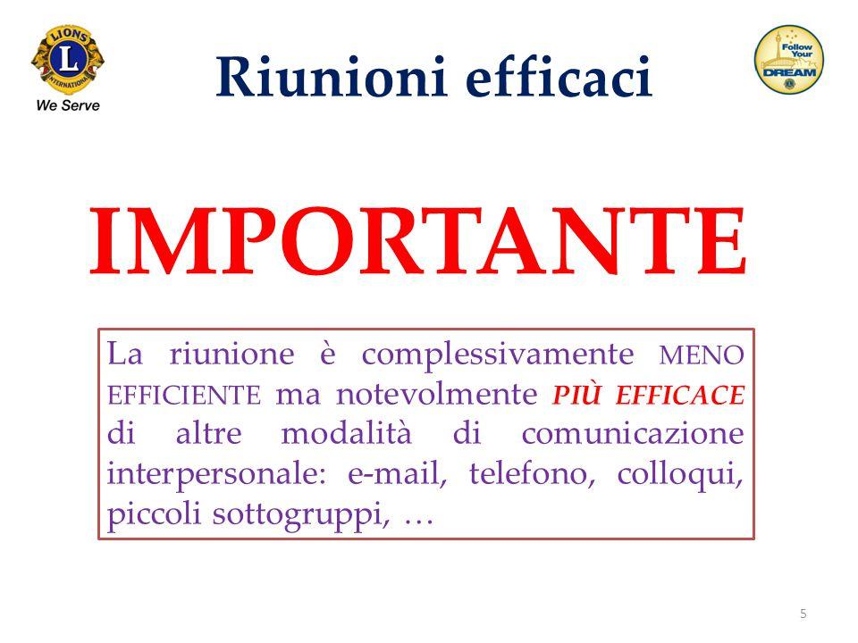 5 Riunioni efficaci La riunione è complessivamente MENO EFFICIENTE ma notevolmente PIÙ EFFICACE di altre modalità di comunicazione interpersonale: e-m