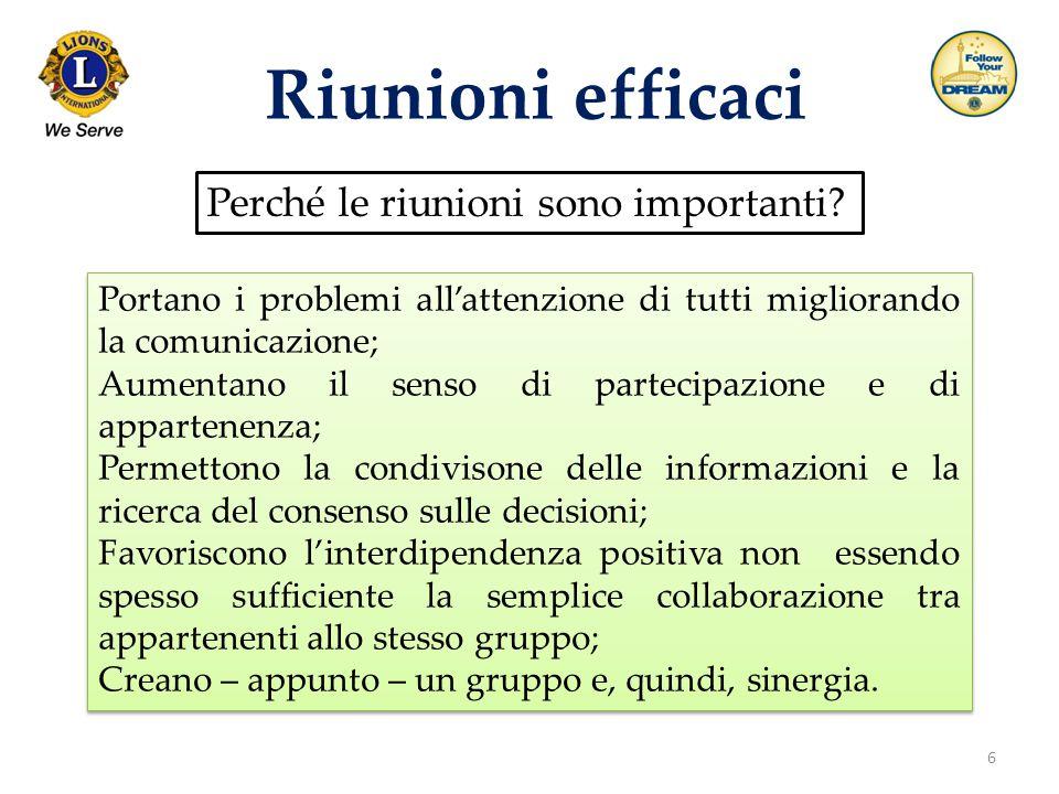 6 Riunioni efficaci Perché le riunioni sono importanti? Portano i problemi all'attenzione di tutti migliorando la comunicazione; Aumentano il senso di