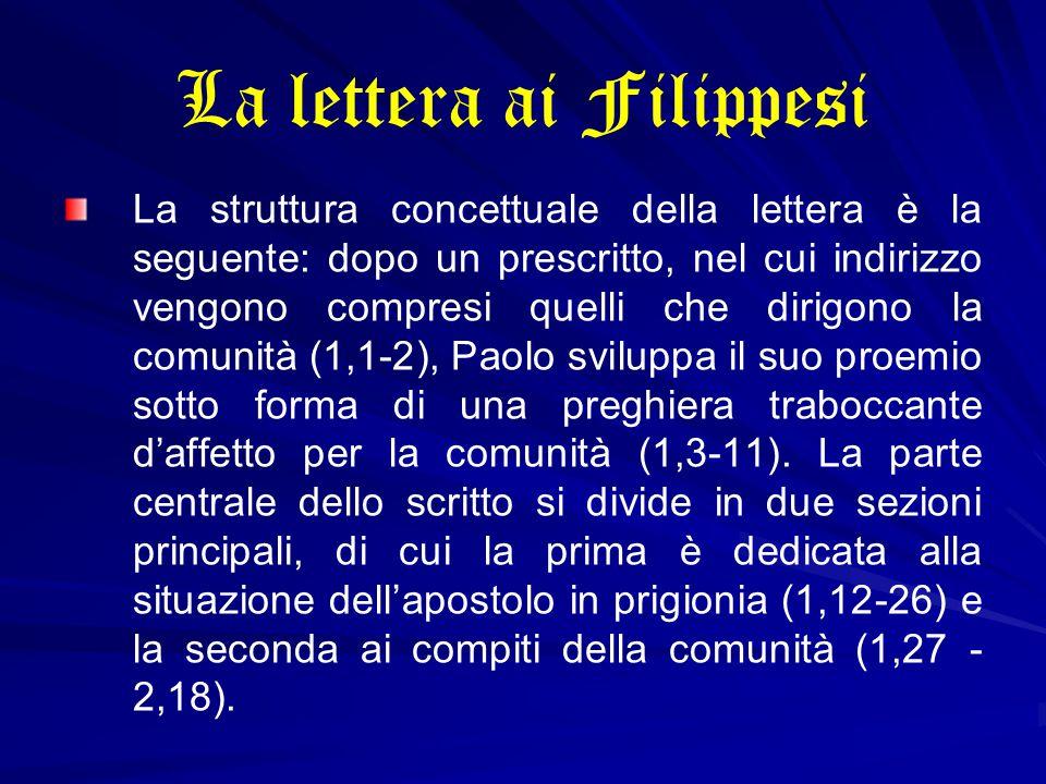 La lettera ai Filippesi La struttura concettuale della lettera è la seguente: dopo un prescritto, nel cui indirizzo vengono compresi quelli che dirigo